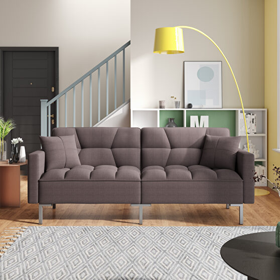 Brown linen upholstered modern convertible folding futon sofa bed