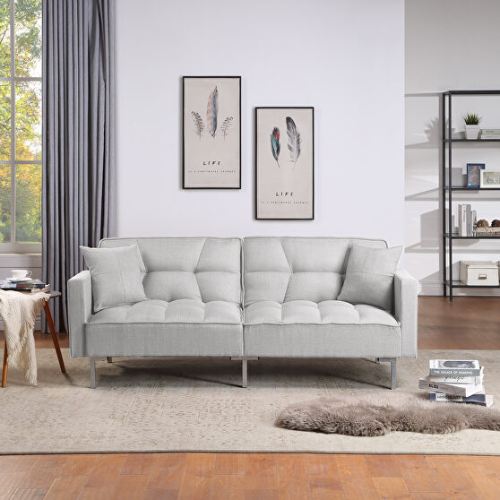 Light gray linen upholstered modern convertible folding futon sofa bed