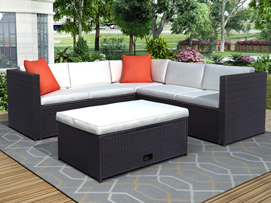 Beige cushioned outdoor patio rattan furniture sectional 4 piece set