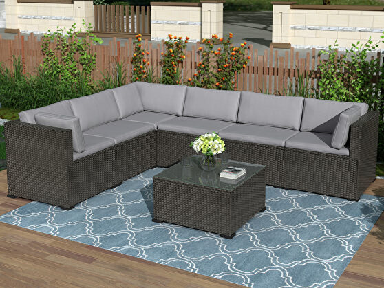 Gray/ black rattan 7-piece outdoor sectional conversation set
