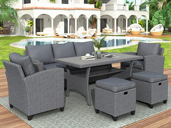 6-piece outdoor gray rattan wicker set patio garden backyard sofa, chair, stools and table