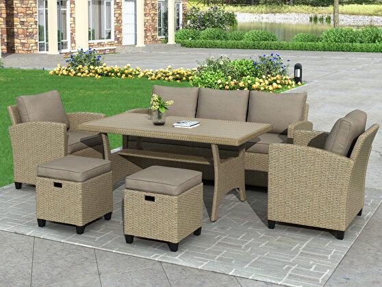 6-piece outdoor brown rattan wicker set patio garden backyard sofa, chair, stools and table