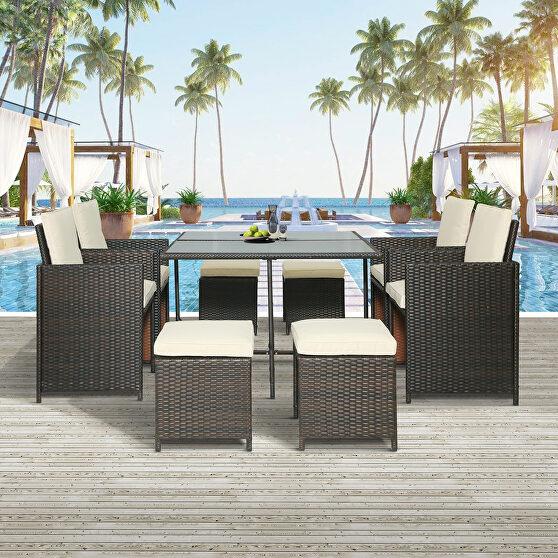 9-piece outdoor rattan wicker patio dining table set