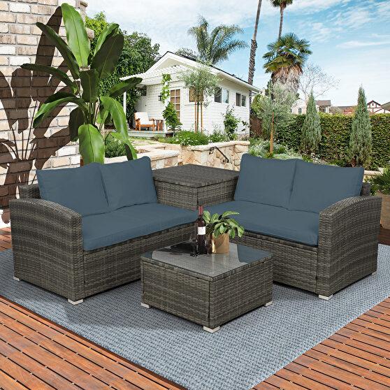4 pcs outdoor cushioned pe rattan wicker sectional sofa set