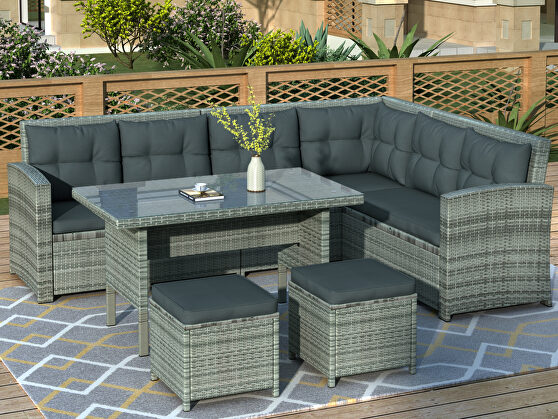 6-piece patio furniture set outdoor sectional sofa with glass table