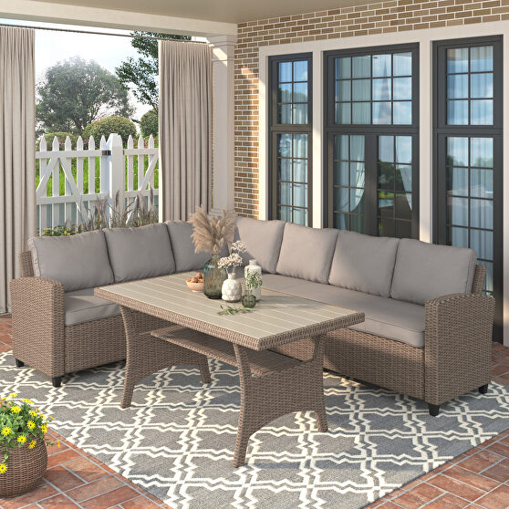 All-weather sectional sofa set with table and brown soft cushions