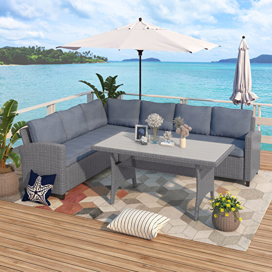 All-weather sectional sofa set with table and gray soft cushions