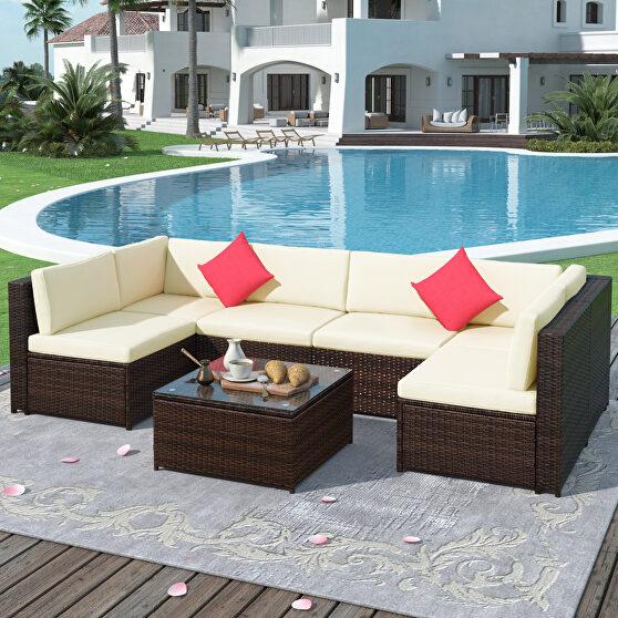 7-piece rattan sectional garden furniture corner sofa set