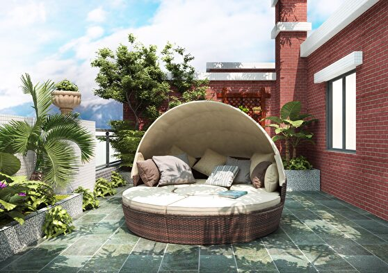 Round outdoor sectional sofa set rattan daybed sunbed with retractable canopy