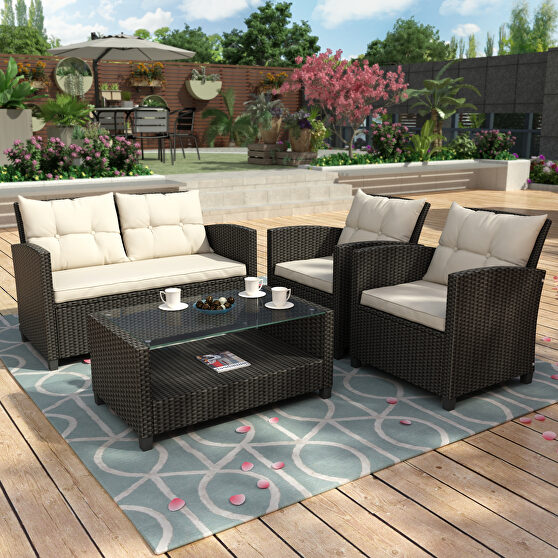 4 pieces set for patio lawn & garden outdoor chair, sofa and table