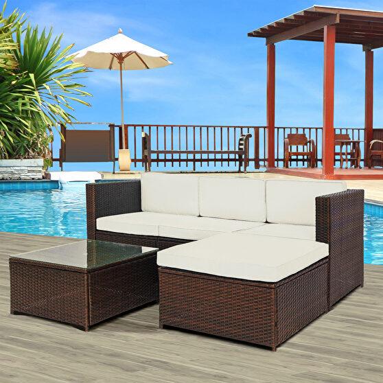 5-piece rattan sofa cushioned sectional furniture set