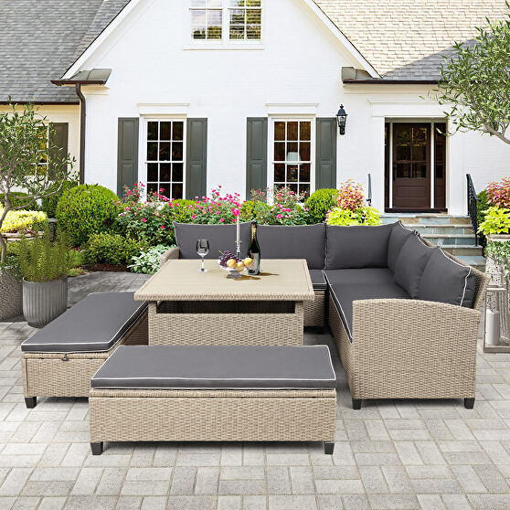 6-piece patio furniture set outdoor wicker rattan sectional sofa with table and benches