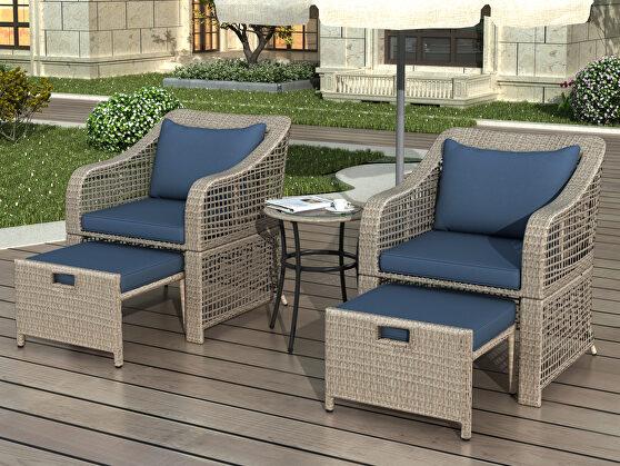 Brown rattan/ navy cushions outdoor conversation 5 piece set