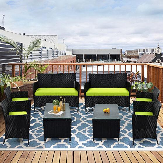 8 pcs patio furniture outdoor garden conversation wicker sofa set, green cushions/ black wicker
