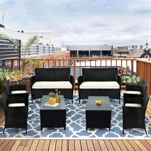 8 pcs patio furniture outdoor garden conversation wicker sofa set, beige cushions/ black wicker