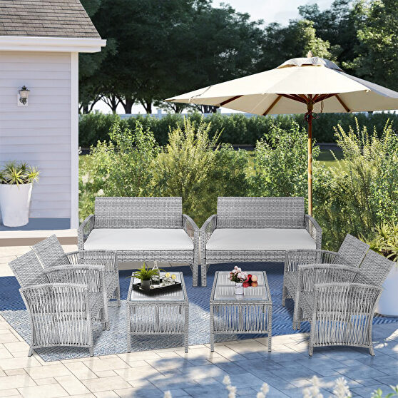 Gray rattan + beige cushion chair, sofa and table patio 8 piece set