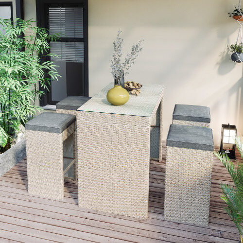 5-piece rattan outdoor patio furniture set bar dining table set with 4 stools, gray cushion