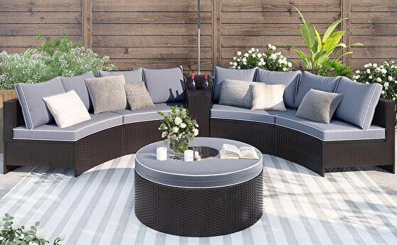 6 pieces outdoor sectional half round patio rattan sofa set
