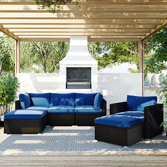 6pcs outdoor patio sectional all weather pe wicker rattan sofa set with glass table, blue cushion/ brown wicker
