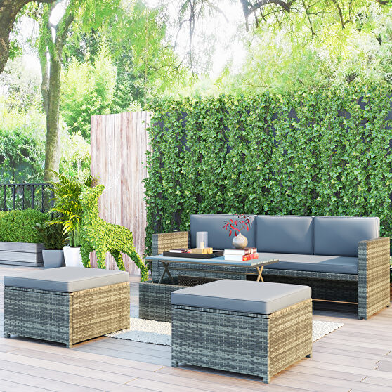 5-piece rattan sofa cushioned sectional furniture set in gray finish