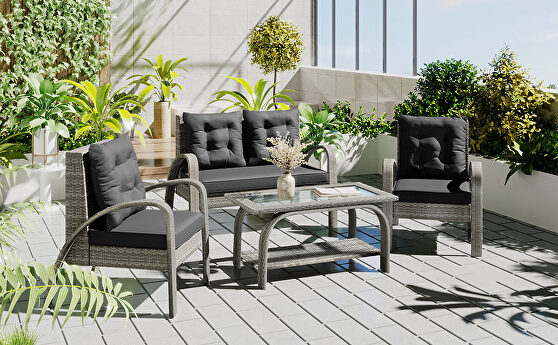 4 pieces sectional rattan sofa set and table