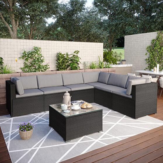 Black/ gray rattan 7-piece outdoor sectional conversation set