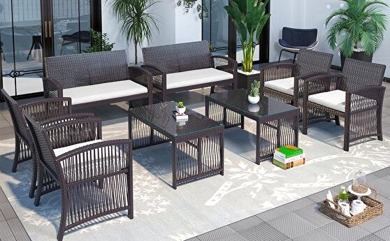 Brown rattan chair, sofa and table patio 8 piece set