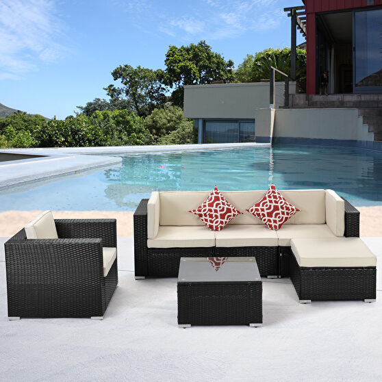 6-piece pe rattan wicker sectional cushioned sofa sets with 2 pillows and coffee table