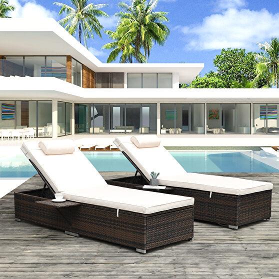 2 piece outdoor pe wicker chaise lounge w/ beige cushions