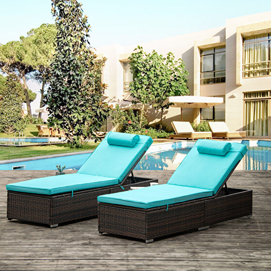 2 piece outdoor pe wicker chaise lounge w/ blue cushions