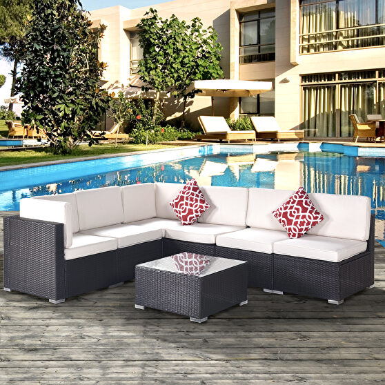 7-piece pe rattan wicker sectional cushioned sofa set and coffee table