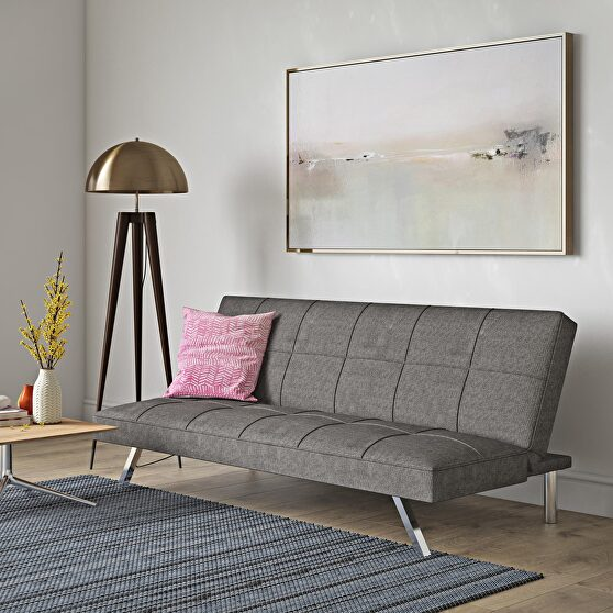 Metal frame and stainless leg futon gray linen sofa bed