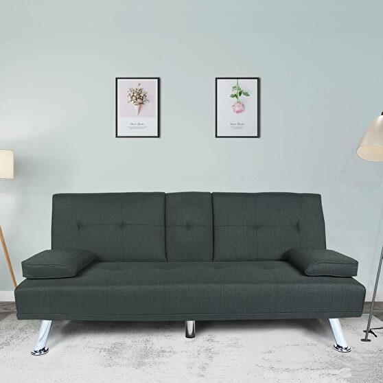 Futon sofa bed sleeper dark gray fabric