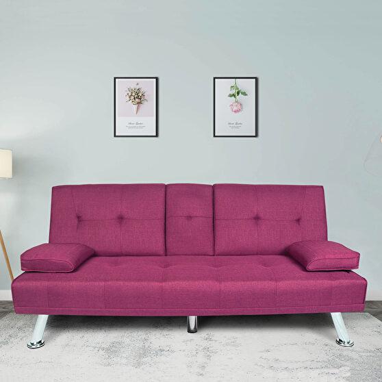 Futon sofa bed sleeper purple fabric