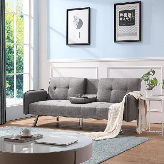 Sleeper sofa light gray fabric
