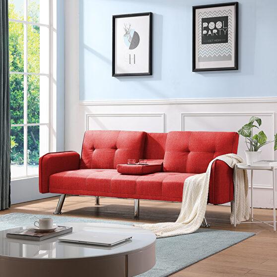 Sleeper sofa red fabric