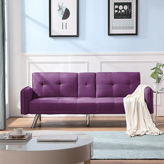 Sleeper sofa purple fabric