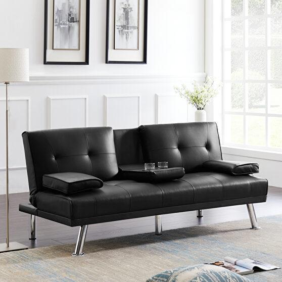 Futon sofa bed sleeper black pu