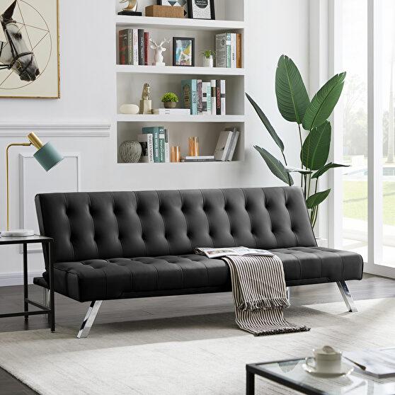 Black pu sofa with metal legs