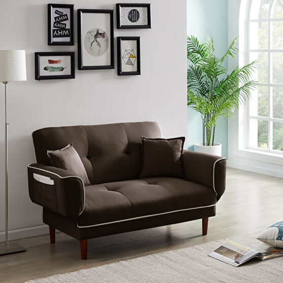 Relax lounge sofa bed sleeper with 2 pillows brown fabric