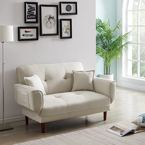Relax lounge sofa bed sleeper with 2 pillows beige fabric