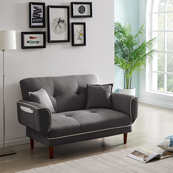 Relax lounge sofa bed sleeper with 2 pillows gray fabric