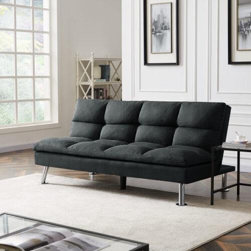 Relax lounge futon sofa bed sleeper dark gray fabric