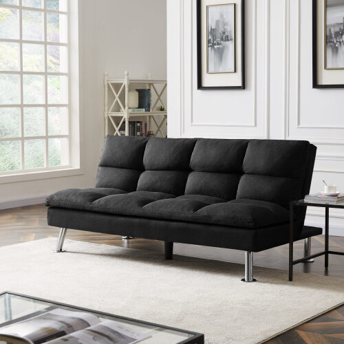 Relax lounge futon sofa bed sleeper black fabric