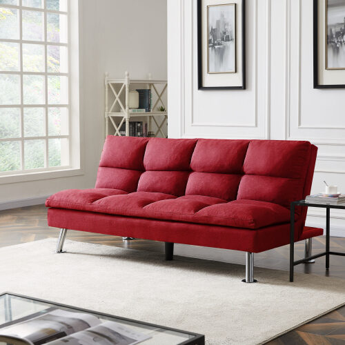 Relax lounge futon sofa bed sleeper red fabric