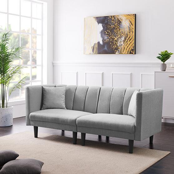 Light gray linen blend fabric futon sofa bed sleeper with 2 pillows