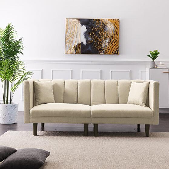 Beige linen blend fabric futon sofa bed sleeper with 2 pillows