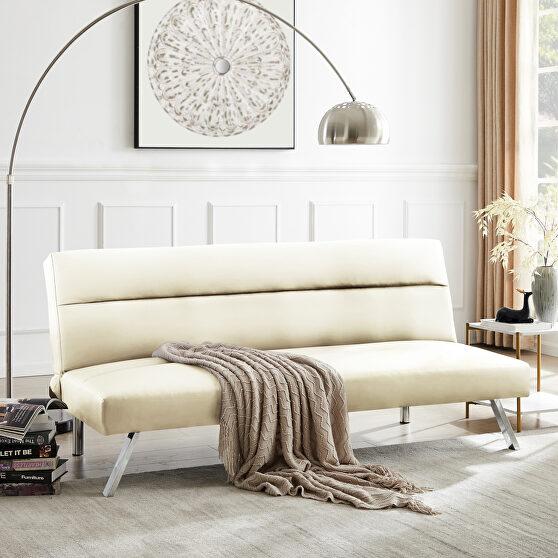 Futon sofa bed sleeper beige pu