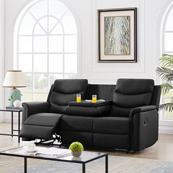 3-seater motion sofa black pu