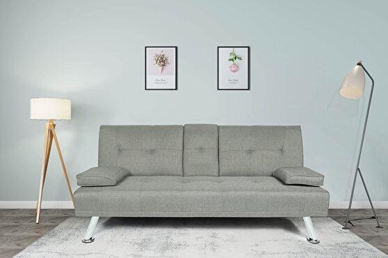 Futon sofa bed sleeper light gray fabric